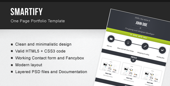 Smartify – One Page Portfolio Template